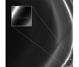 "An image taken with Cassini's narrow angle camera just after the spacecraft entered orbit around Saturn on 1 July 2004.  The inset shows presence of a ""mini-jet"" approximately 55km long emanating from the bright core of Saturn's F ring. These features are caused by the gentle (about 2 m/s) impact of icy objects with the core.  QMUL astronomers have shown that there are about 500 examples of such features detectable in the images taken by Cassini's cameras."